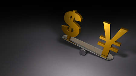 Two currency symbols placed on a large seesaw. Dark background. 3D illustration.