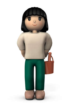 Asian girl with a bucket. She is waiting for something White background. 3D illustration. Stock Photo