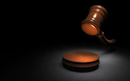 A hammer representing a court decision. Black background. 3D illustration.