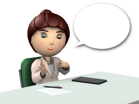 Business woman is explains something.  3D illustration