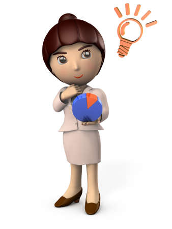 Young business woman staring at a graph. It represents a business strategy. 3D illustration. White background.