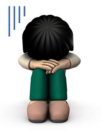 The girl hides her face and is very sad. 3D illustration. White background. Banco de Imagens