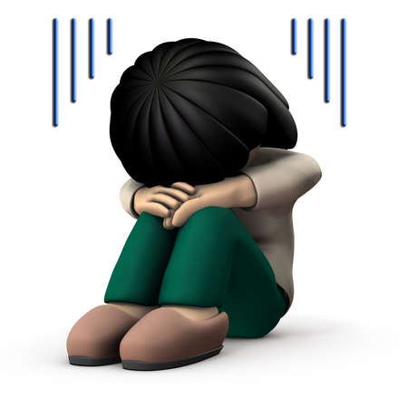 The girl hides her face and is very sad. 3D illustration. White background. 写真素材 - 126036372