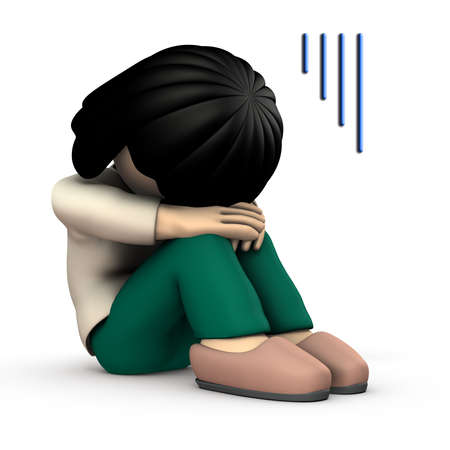 The girl hides her face and is very sad. 3D illustration. White background. 写真素材 - 126036370