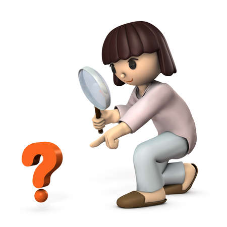 Asian girl looking into a big magnifying glass. White background. 3D illustration.