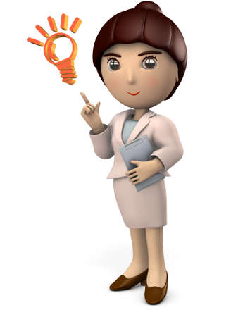 Young Asian woman in a suit. She is showing the correct answer. White background. 3D illustration