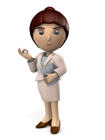 Young Asian woman in a suit. She is showing the correct answer sign. White background. 3D illustration 写真素材 - 126036411