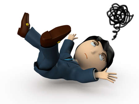 Young Asian businessman in a suit. He was hit by an unexpected fall accident. White background. 3D illustration. Фото со стока