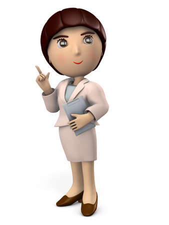 Young Asian woman in a suit. Pointing point with index finger. White background. 3D illustration.