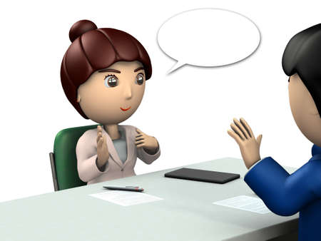A young woman facing a man. She is explaining something. White background. 3D illustration.