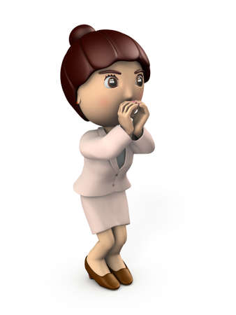Asian young woman shouting loudly. She is cheering on someone. White background. 3D illustration.