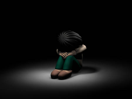 A girl crouching alone in the dark. She is lonely and afraid. Dark background. 3D illustration. Stock Photo