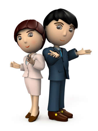 A pair of men and women dressed in a business suit. They are welcoming you. White background. 3D illustration.