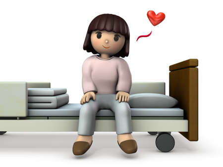 Young Asian girl sitting in bed. She was completely cured of her illness. White background. 3D illustration.
