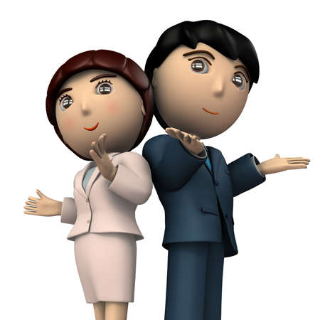 A pair of men and women in business suits. They are welcome. White background. 3D illustration.