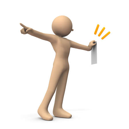 A character showing a contract and imminent leaving. White background. 3D illustration. Stok Fotoğraf