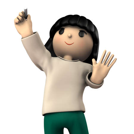 A girl doing graffiti on the wall. Black hair. She is wearing a sweatshirt. White background. 3D illustration.