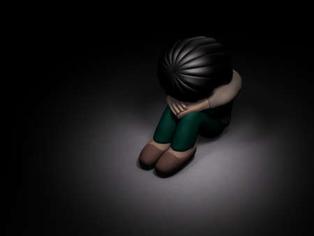 A girl crouching alone in the dark. She is lonely and afraid. Dark background. 3D illustration. 스톡 콘텐츠
