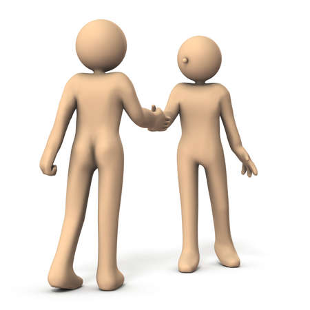 Two characters shaking hands. One is a back view. White background. 3D illustration.