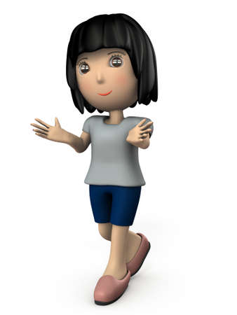 A young Asian woman who introduces herself. One is a back view. White background. 3D illustration. Banco de Imagens