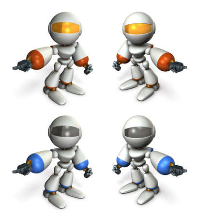The robot swings his arm and points at it. Determined something and ordered. A Set of multiple illustrations. White background. 3D illustration.
