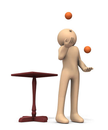 A character performing juggling. White background. 3D illustration.