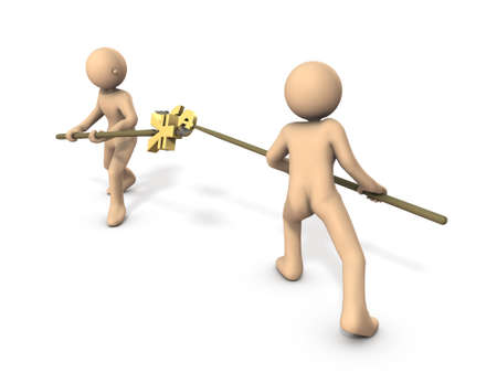 Characters fight with a big spear. they represent a war in the economy. White background. 3D illustration. Imagens
