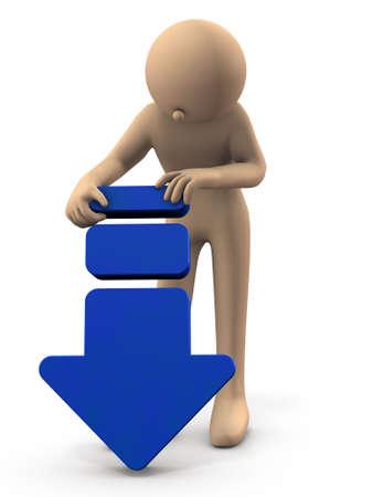 Un personnage tenant une grande flèche vers le bas. Il représente l'échec. Fond blanc. illustration 3D.