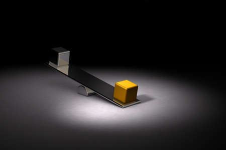 Golden and silver weight on the seesaw. It represents a value comparison. Dark background. 3D illustration. Reklamní fotografie - 131459521