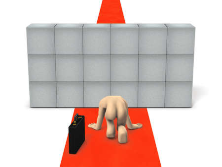 The businessman has lost hope for obstacles that block his career. White background. 3D illustration. Imagens