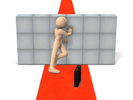 The businessman is challenging to push the obstacles that block the way. White background. 3D illustration. Imagens