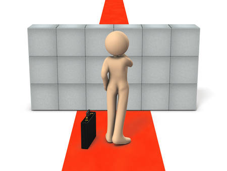 Large obstacles that interfere with the carrier are obstructing the path. The businessman is thinking about a solution. White background. 3D illustration.