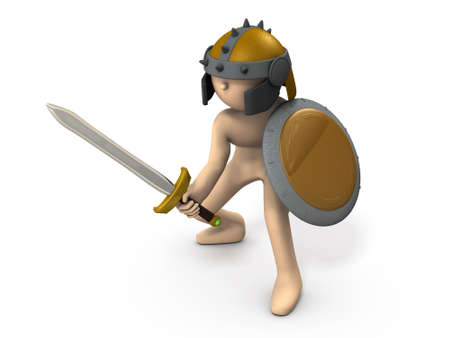 A swordsman armed with an old fashioned shield and sword. He is fighting. White background. 3D illustration.