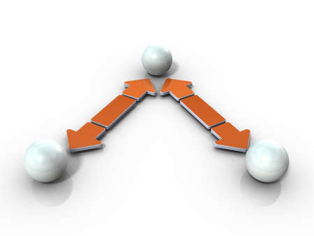 Three forces in a cooperative relationship. White background. 3D illustration.