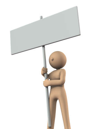 The character has a big message board. White background. 3D illustration.