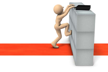 Obstacles that hinder your career. Businessman is trying to get over it. White background. 3d illustration. 스톡 콘텐츠