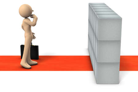 Obstacles that hinder his career. A businessman who wants to overcome it. White background. 3d illustration.