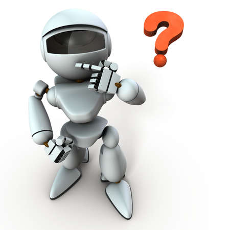 A white robot that looks at me with interest. It is artificial intelligence technology. White background. 3D illustration.