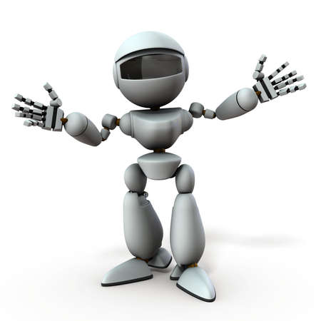 A white robot that spreads both arms. It represents a welcome. White background. 3D illustration.