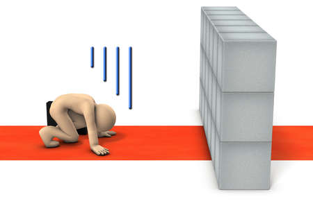 The character is crouching in front of an obstacle that blocks the path. He has given up on going. White background. 3D illustration.