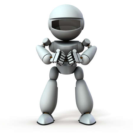 A white robot hitting a fist. It represents anger. White background. 3D illustration.