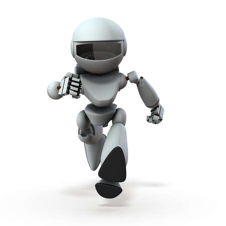 An artificial intelligence robot approaching here. Its running in a hurry. White background. 3D illustration.
