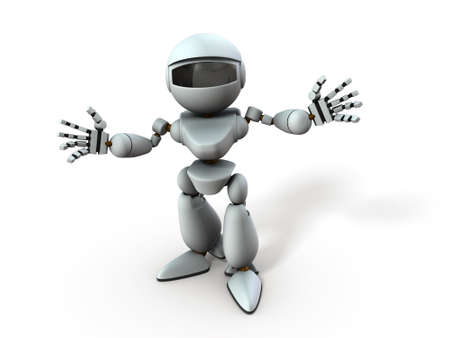 An artificial intelligence robot with open arms. He represents a welcome. White background. 3D illustration. Banco de Imagens