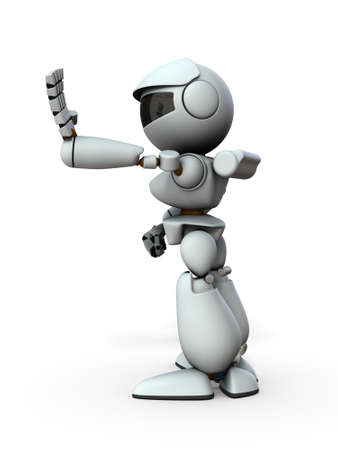The artificial intelligence robot sticks out one hand forward. It represents rejection. White background. 3D illustration. Foto de archivo - 131460409