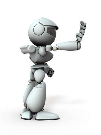 The artificial intelligence robot sticks out one hand forward. It represents rejection. White background. 3D illustration. Archivio Fotografico - 131460412