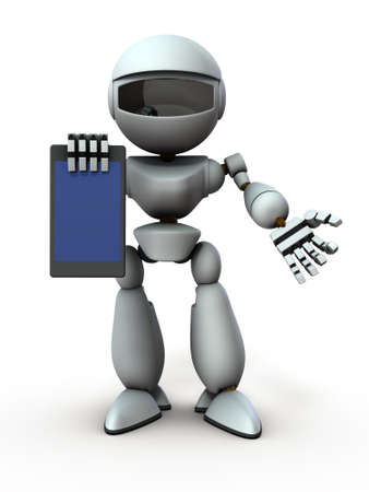 Artificial intelligence robots use tablet devices to present something. White background. 3D illustration. Banco de Imagens
