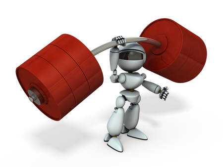 An artificial intelligence robot that lifts the barbell with one hand. White background. 3D illustration.