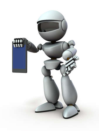 Artificial intelligence robots use tablet devices to present something. White background. 3D illustration. Stock Photo