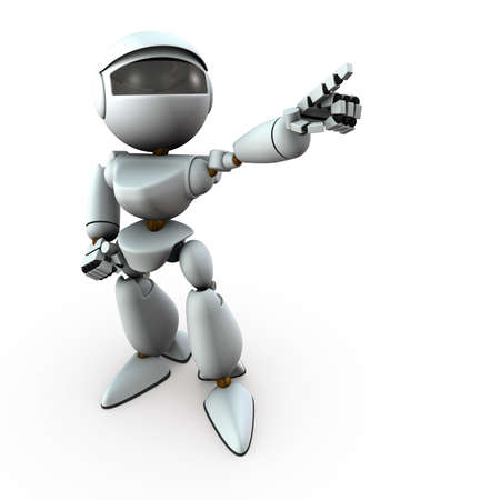 The artificial intelligence robot is pointing towards the target. It represents a determination. White background. 3D illustration.