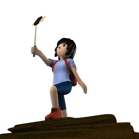 Young woman enjoying trekking. She is taking a selfie. White background. 3d illustration. Banco de Imagens